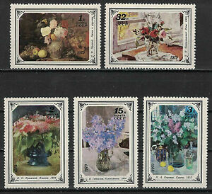 RUSSIA,USSR:1979 SC#4765-69 MNH Russian Flower Paintings s485