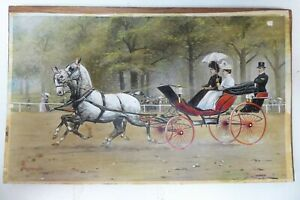ANTIQUE GEORGE WRIGHT PAINTING HORSES & COACH SET IN LIDDED METAL JEWELLERY BOX