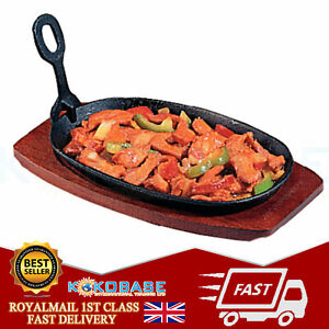 Cast Iron Sizzler Hot Serving Steak Plate Pan Grill Platter Dish and Wooden Tray
