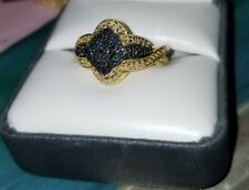 Ross Simons 18k Yellow Gold/Sterling silver pave Columbia Blue Diamond ring