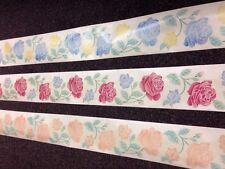 Self Adhesive Roses Wallpaper Border Clear Backing 5mtrs  8 PEACH ONLY
