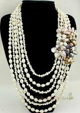 N12122118 white FW pearl irregular coin pearl flower necklace earrings