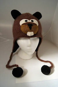 deLux leather tag BEAVER HAT knit ADULT cap BROWN costume FLC LINED beanie toque