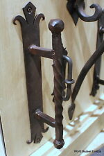 "12"" tall old finish Twisted Wrought Iron door handle dark bronze finish"