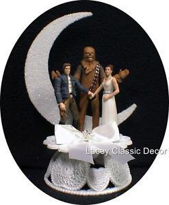 Star War Wedding Cake Topper w/ Han Solo groom, Princess Leia bride, Chewbacca