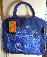 Laurel Burch Lg Travel Cosmetic Organizer Tote Bag #5900 D Blue Indigo Cats NEW