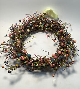 Wood Wreath Multicolored Beads Celebrate The Season With Tag