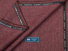 100% WOOL TWEED FABRIC, MIX PINK/RUST BROWN HERRINGBONE - MADE IN GREAT BRITAIN