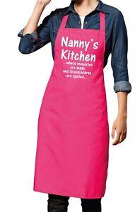 Nannys Kitchen Hot Pink Apron Grandma Gift - Great nan gift and ideal Nanny Chef
