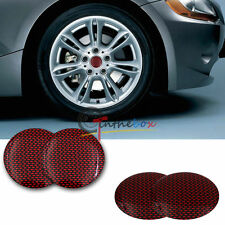 4PCS 56.5mm Red Carbon Fiber Print Aluminum Wheel Center Hub Cap Emblem Stickers