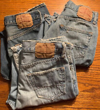 Lot of 3 Pair Of Mens 30/32 Abercrombie Fitch Boot Cut Distressed Jeans