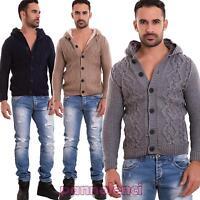 Cardigan uomo maglione pullover imbottito pelliccia cappuccio nuovo BB025