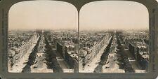 Stéréo PARIS 1900 - Calèches Circulation Vue sur les Champs-Élysées - 14