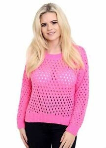 Ladies Womens Soft Knit Knitted Crochet Plain Jumper Stretch Sweater Top 8-14