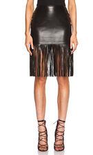 Theperfext Mimi Fringe Black Leather Skirt XS