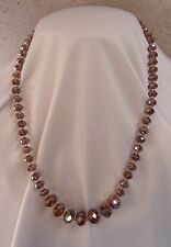 BEAUTIFUL NECKLACE TOP QUALITY SPARKLING CRYSTALS PINK LILAC TONES GREAT GIFT
