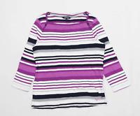 Maine Womens Size 12 Striped Cotton Purple T-Shirt (Regular)