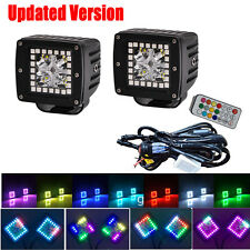 "2x 3"" CREE Led Work Light Bar Square Pod Cube RGB Halo 12 Solid Color 72 Chasing"