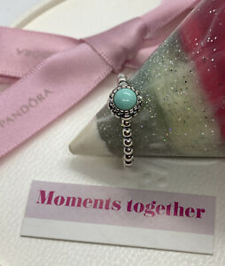 Pandora December Blue Turquoise Birthstone Ring Size 58, 190854TQ Authentic Ale