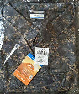 NEW COLUMBIA PFG Men's Silver Ridge Lite 2X LS Shirt Charcoal Camo Plaid BIG XXL