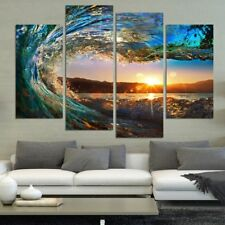 4 Panel Modern Seascape Painting Canvas Art HD Sea Wave Landscape Wall Picture