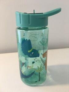 Dinosaurs Water Bottle With Straw Kids Boy Green Plastic Drink Bottle 400ml