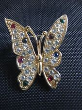 SPARKLING ICE & COLORFUL RHINESTONES SET IN GOLD TONE BUTTERFLY BROOCH