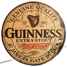 GUINNESS Wood Signs Retro Vintage Round Wooden Circle Man Cave Bar Wall Sign UK