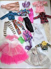 19 Vintage Barbie Doll Clothes Lot Dresses, Patterned Pants, Lace Tights, Shirts