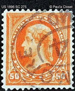 US T. JEFFERSON 50¢ ORANGE 1896 UNG DLW SC 275 HANDSTAMPED CNX BALTIMORE MD F/VF