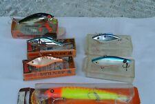 Lot 6 Fishing Lures Vintage - Rapala Rattl'N Rap- Rat-L-Trap - Bomber Plastic