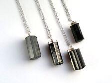 Collar Pendulo Turmalina Negra Cristalizada Natural. Plata 1ª Ley .925 Nuevo.