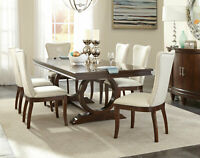 Art Deco Design Cherry Brown 7pcs Dining Room Rectangular Table & Chair Set IC5A