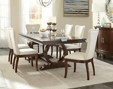 Art Deco Design Cherry Brown 7pcs Dining Room Rectangular Table & Chair Set IC5A
