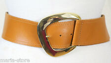 PEARL LEATHER USA BROWN TAN GENUINE LEATHER BIG GOLD BUCKLE WIDE BELT S/M (15V
