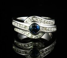 MAYORS BIRKS SIGNED NATURAL 2.0ctw BLUE SAPPHIRE & DIAMOND 14K WHITE GOLD RING