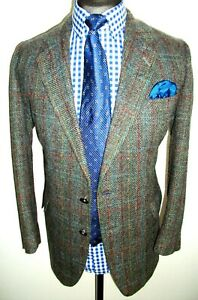TWEED CHECK Hacking Norfolk JACKET COAT 44 Grey Blue Red WOOL Sports Suit BLAZER