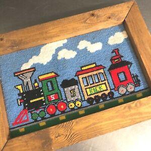 VTG Train Needlepoint Picture Hand Made Wooden Frame Boy Nursery Locomotive