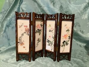 Hand Painted Miniature Chinese Table Screen.