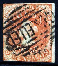 CHILE 1857-1865 5c. COLON ESTANCOS SANTIAGO Print Chile #9 Scott #9 SG 18 Wmk 2