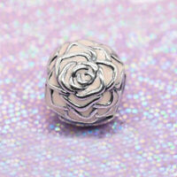 Authentic 100% 925 Sterling Silver Pink Enamel Rose Garden Clip Charm