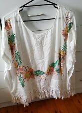 ROXY Top Beach Hippie White Tassels Flowers Hibiscus One Size Over Swimmers