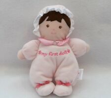 """Prestige My First Baby Doll Pink Plush Satin Bows Brunette Baby Lovey 8"""""""