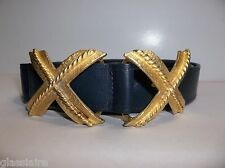 Vintage GOLD Tone DOUBLE X Belt Buckle Navy Blue Leather Belt SANDY DUFTLER