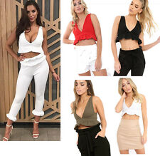 New Womens Ladies Frill Hem Plunged V Neck Crop Top Sleeveless Top UK 6-12
