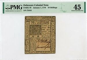 (DE-79) January 1, 1776 10 Shillings DELAWARE Colonial Note - PMG XF 45