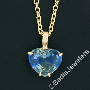 New 14K Gold GIA Zoned Blue & Yellow Heart Sapphire Solitaire Pendant Necklace