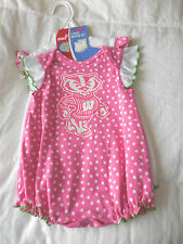 Nwt Wisconsin Badgers Girl's Romper Creeper Set of 2 New Sz. 3/6 Months
