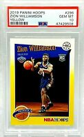 2019-20 Panini NBA Hoops Tribute YELLOW Zion Williamson #296 PSA 10 Rookie SP