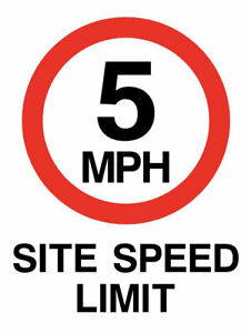 5 MPH Sign Plastic, Fluted Board Or Metal Choice Of Sizes